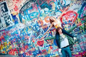 Rene and Anna near John Lennon wall
