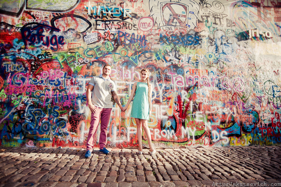 john lennon wall Prague Photo tour in Prague. Me and city photos with professional wedding photographer Artur Jakutsevich in Czech