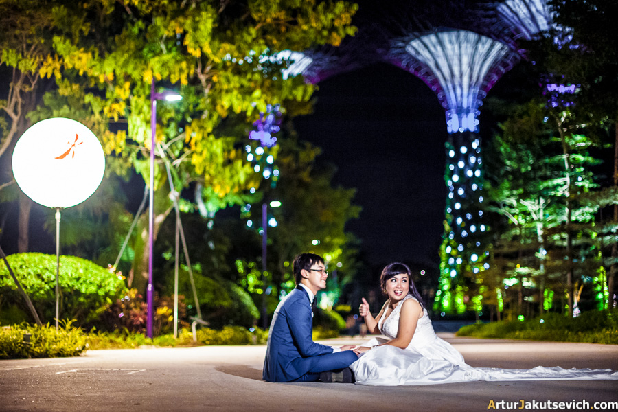 Wedding photo shooting at the Gardens by the Bay Singapore