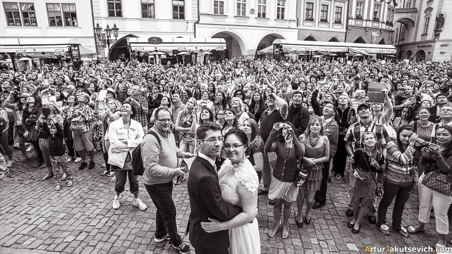 Old Town Square wedding photo