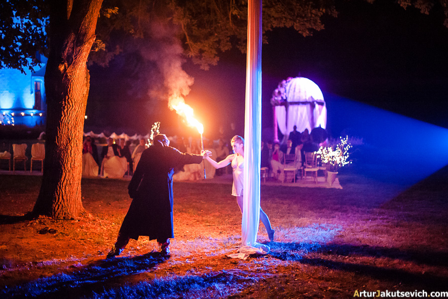 Fire show at a wedding