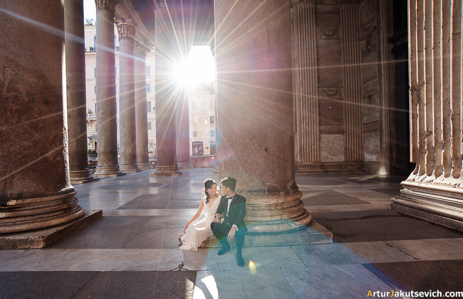 Romantic wedding photo shooting in Rome