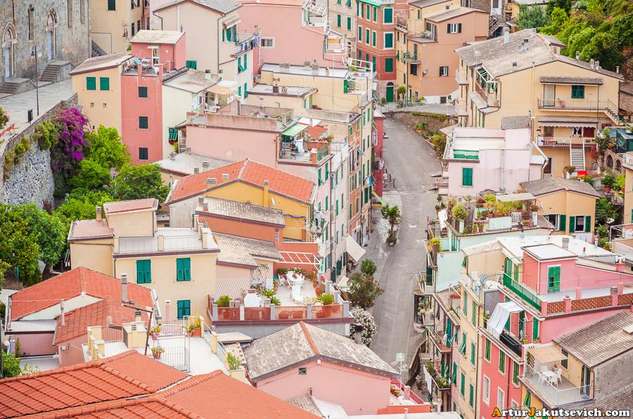 Streets in Riomaggiore in Italy