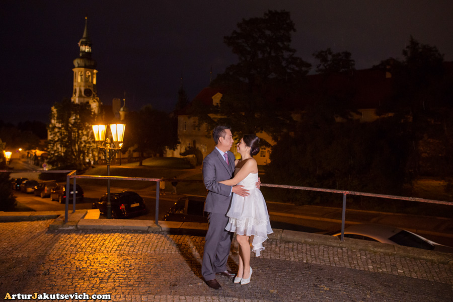 Wedding photo shooting in Prague in October for Alvin and Dawn